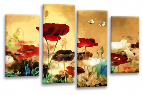 CHINESE FLORAL FLOWER SPLIT MULTI 4 PANEL BEIGE RED WHITE  PICTURE